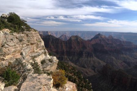 Another view from North Rim showing large white rock formation in the foreground