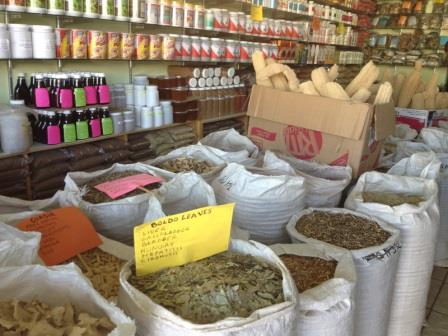 Sacks of dried herbs in medicine shop - Los Algodones, Mexico