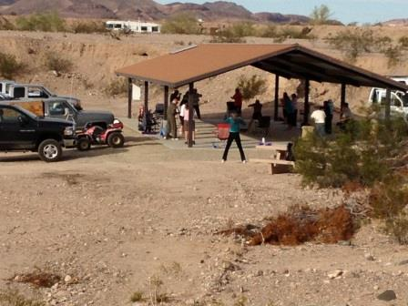 Covered pavilion used for exercise classes and other social gatherings at the Long Term Visitor ARea near Yuma